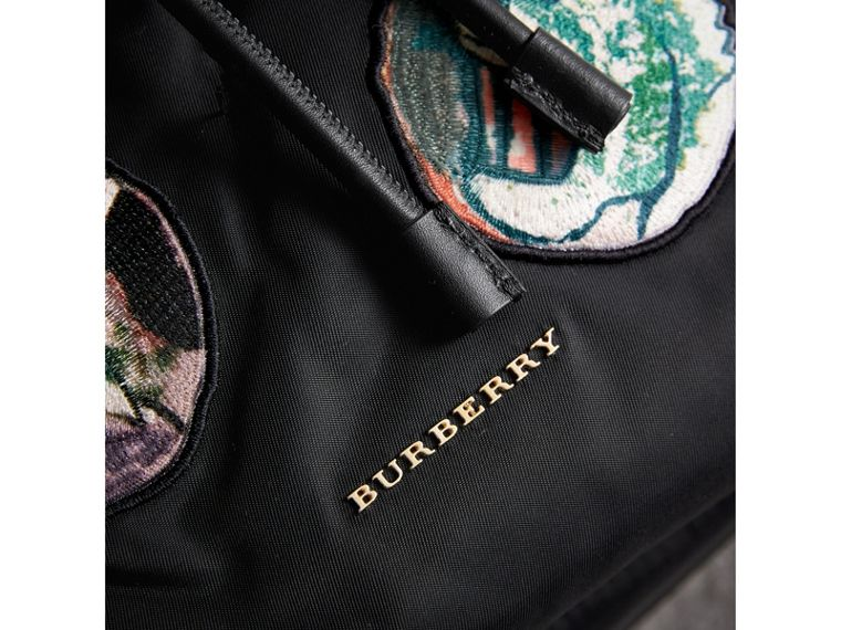 The Medium Rucksack in Technical Nylon with Pallas Heads Appliqué in Black - Women | Burberry - cell image 1