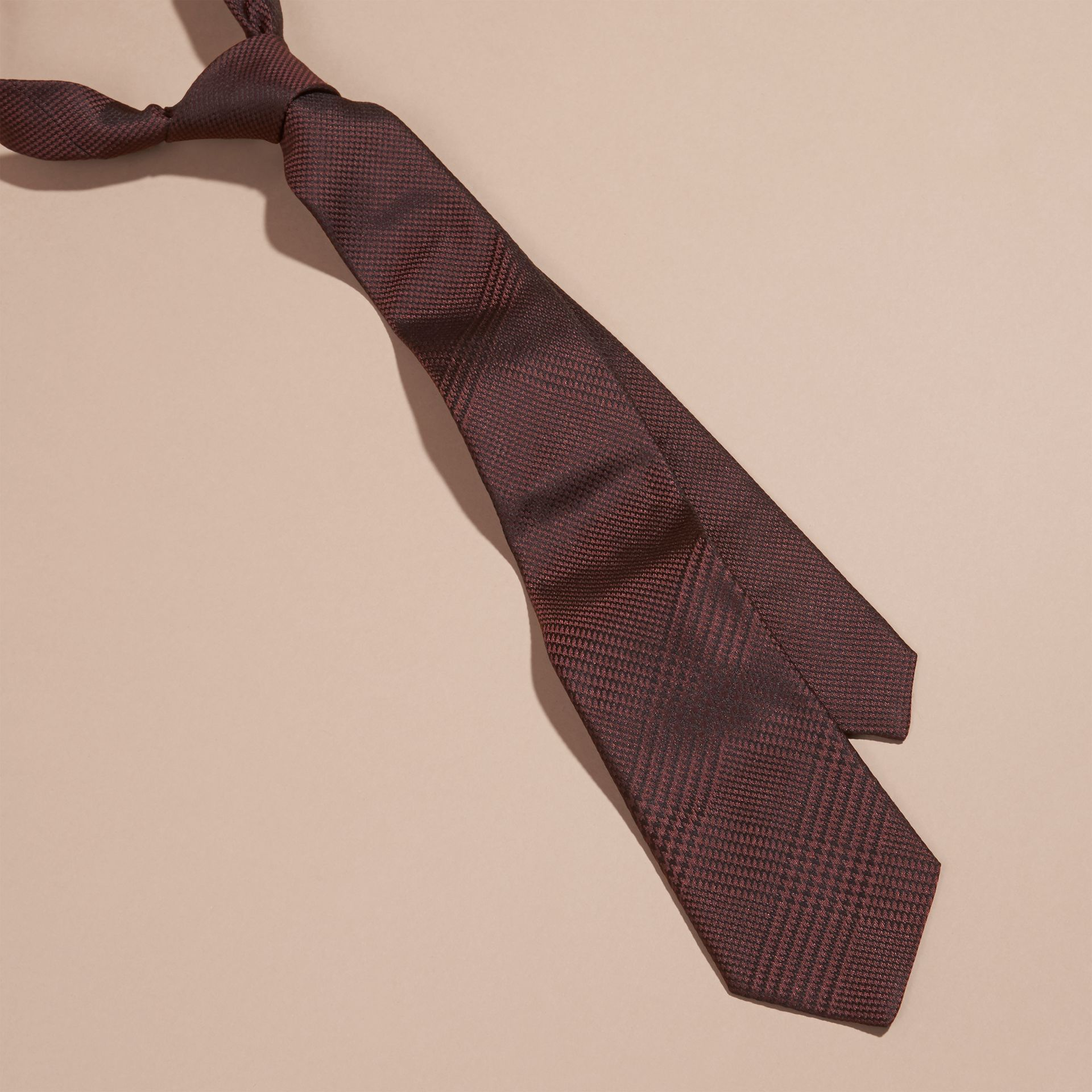 Modern Cut Check Silk Tie Deep Claret - gallery image 1