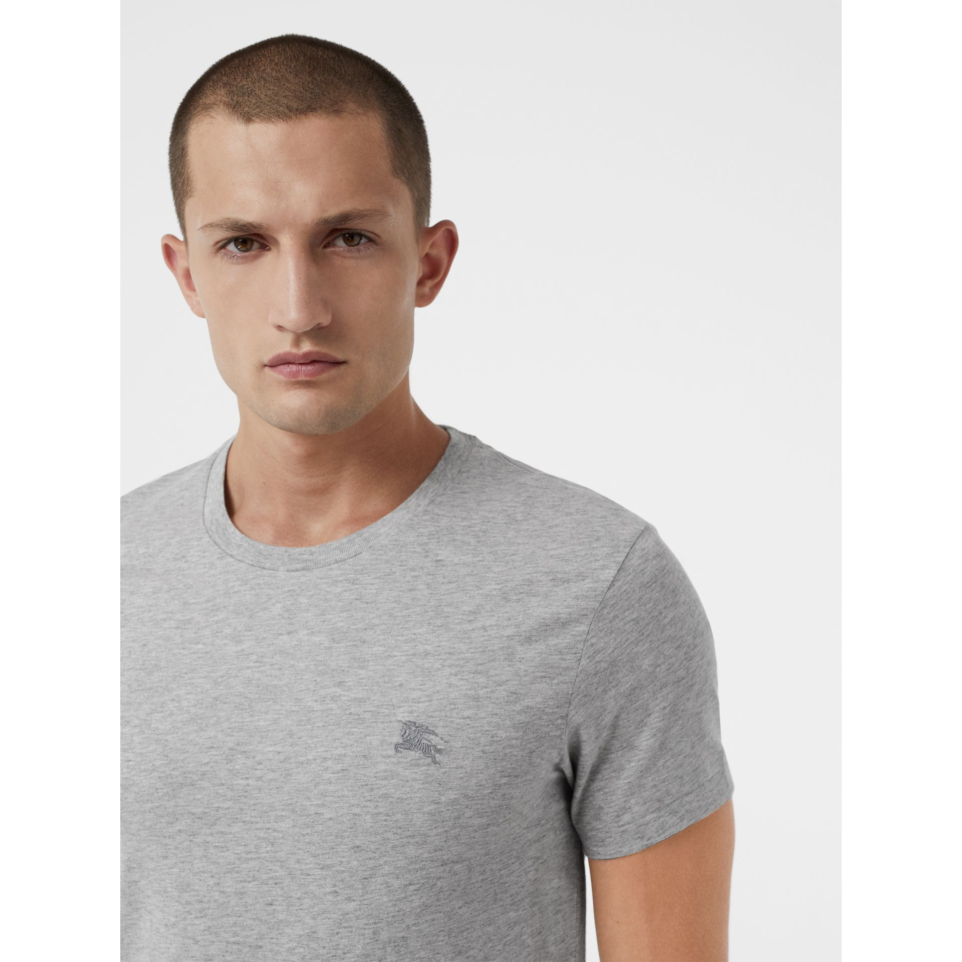 Cotton Jersey T-shirt in Pale Grey Melange - Men | Burberry United Kingdom - gallery image 1