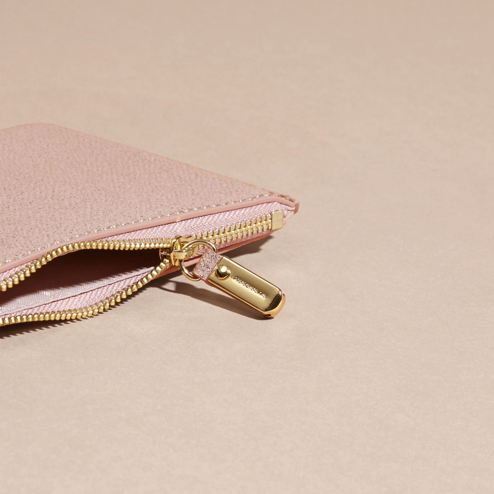 Glitter Leather Pouch in Pale Orchid - gallery image 5