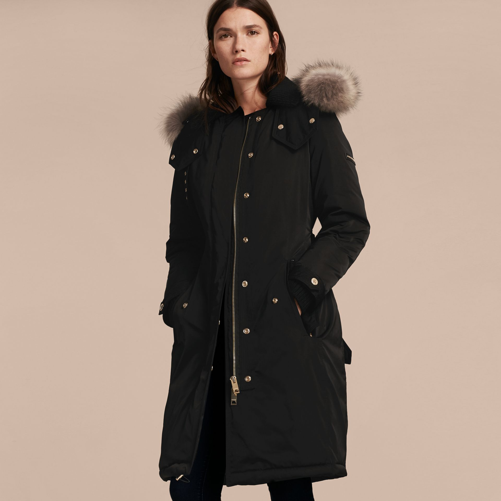 Black Down-filled Parka Coat with Detachable Fur Trim Black - gallery image 7