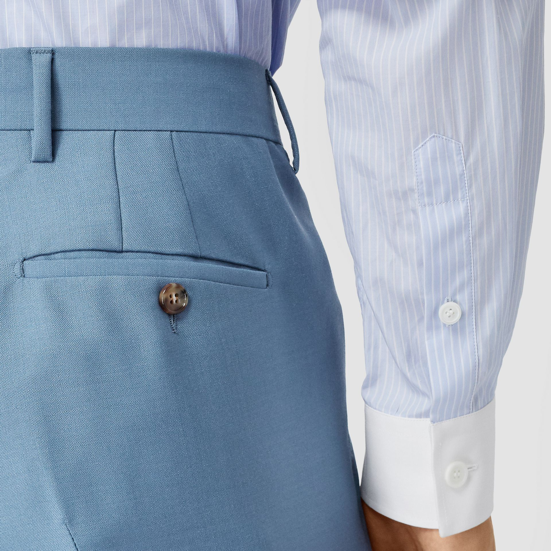 Classic Fit Mohair Wool Tailored Trousers in Steel Blue - Men | Burberry - gallery image 1