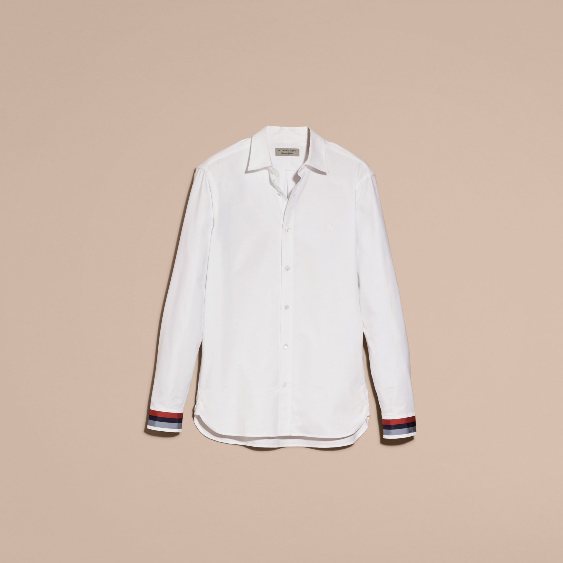 White Oxford Cotton Shirt with Regimental Cuff Detail White - gallery image 4