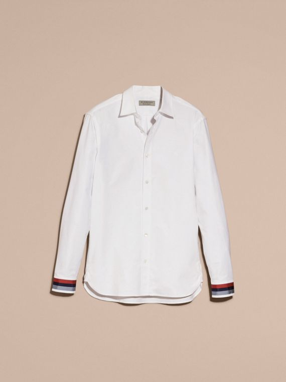 White Oxford Cotton Shirt with Regimental Cuff Detail White - cell image 3