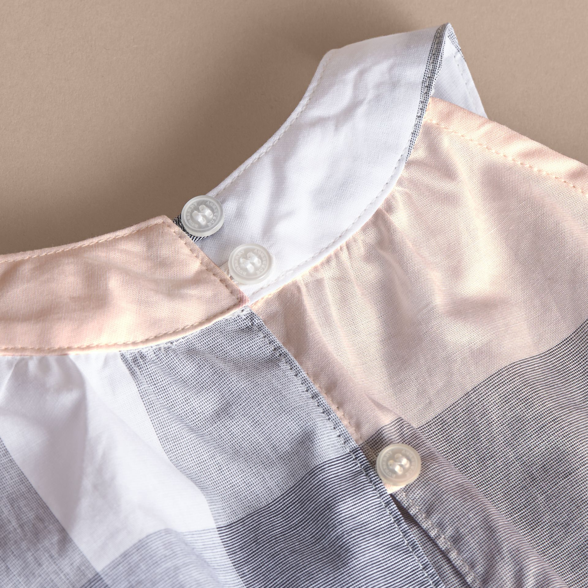 Gathered Check Cotton Top in Apricot | Burberry - gallery image 1