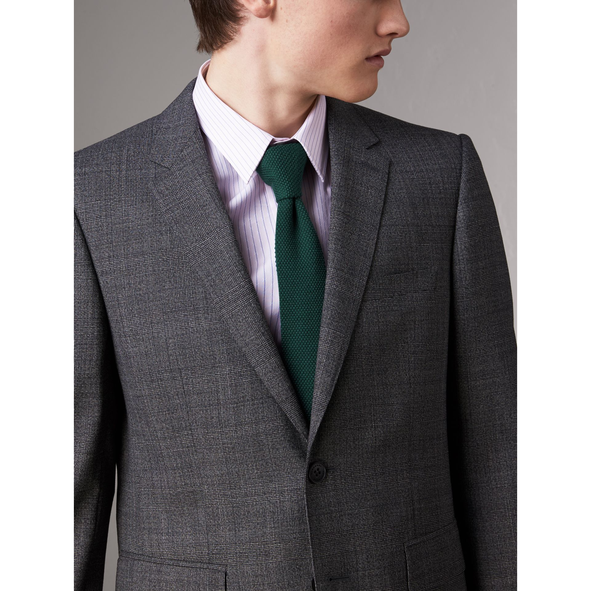 Slim Cut Waffle Knit Wool Tie in Dark Forest Green - Men | Burberry - gallery image 3