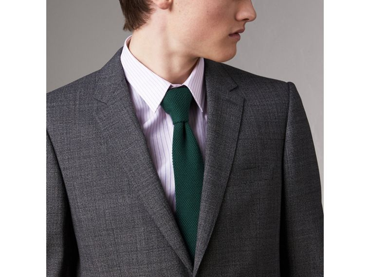 Slim Cut Waffle Knit Wool Tie in Dark Forest Green - Men | Burberry - cell image 2