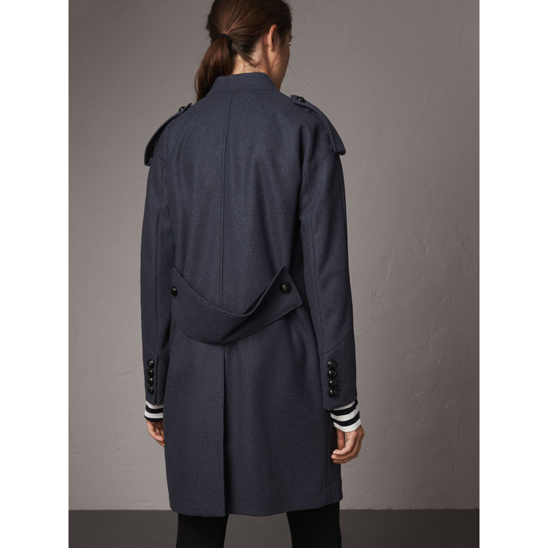 Collarless Wool Blend Coat in Storm Blue Melange - Women | Burberry Australia - gallery image 3