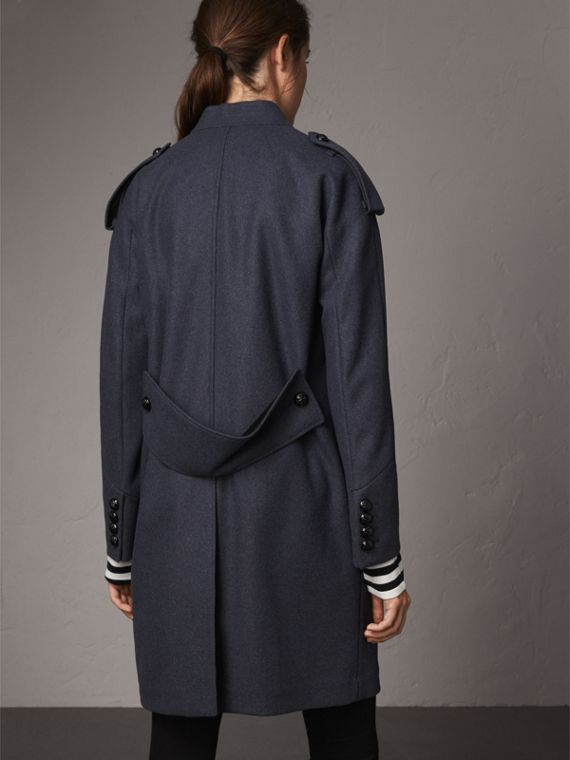 Collarless Wool Blend Coat in Storm Blue Melange - Women | Burberry Australia - cell image 2