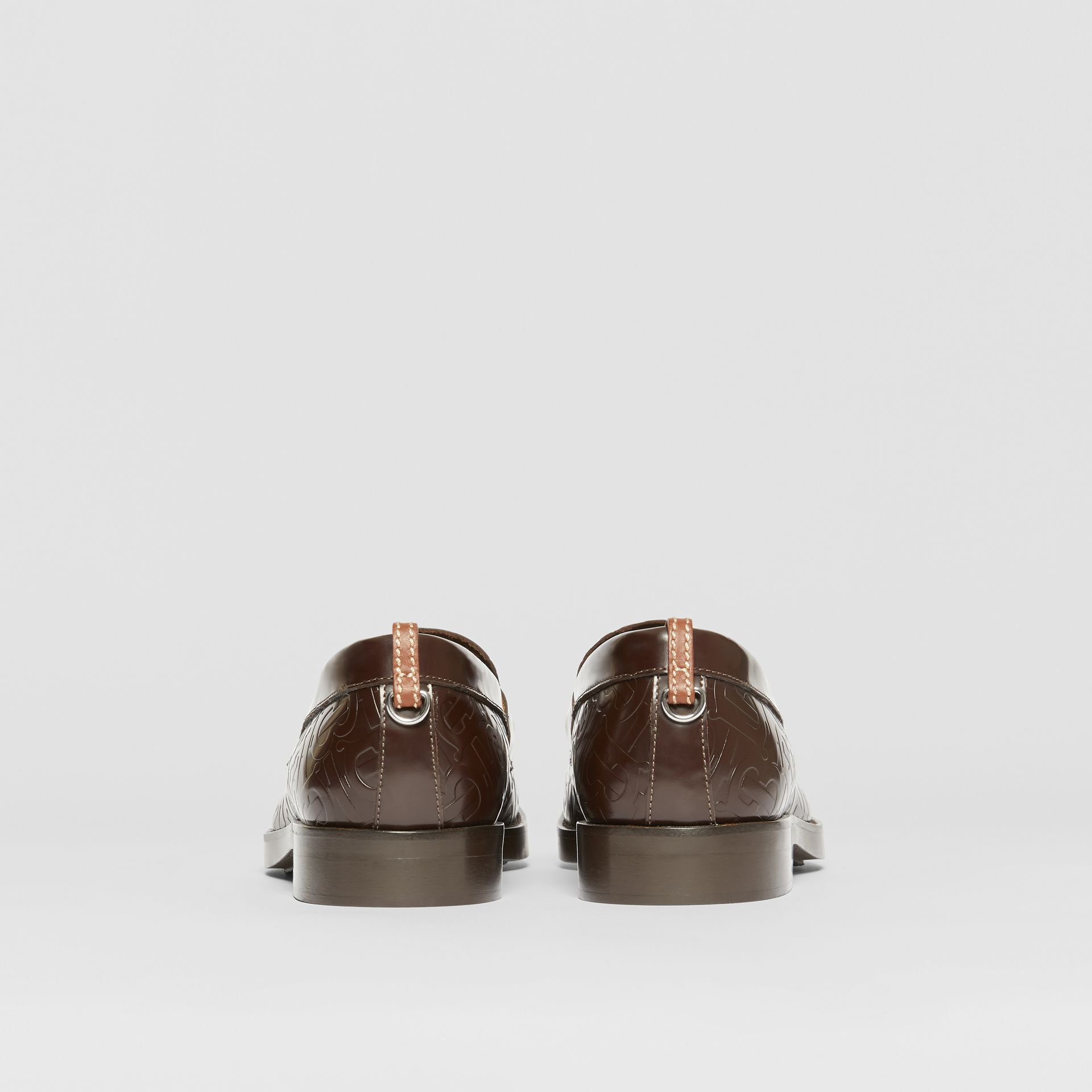 D-ring Detail Monogram Leather Loafers in Chocolate - Men | Burberry Canada - gallery image 3