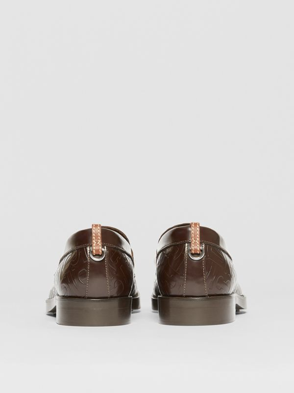 D-ring Detail Monogram Leather Loafers in Chocolate - Men | Burberry - cell image 3