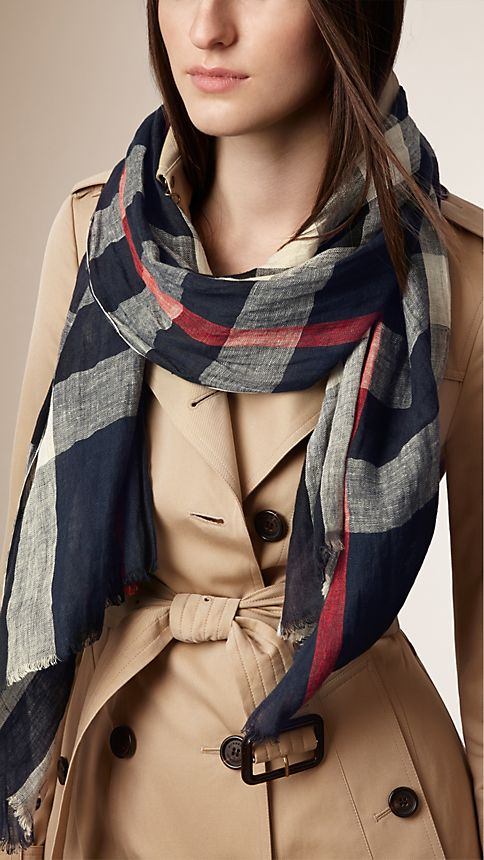 Navy check Check Linen Crinkled Scarf - Image 2