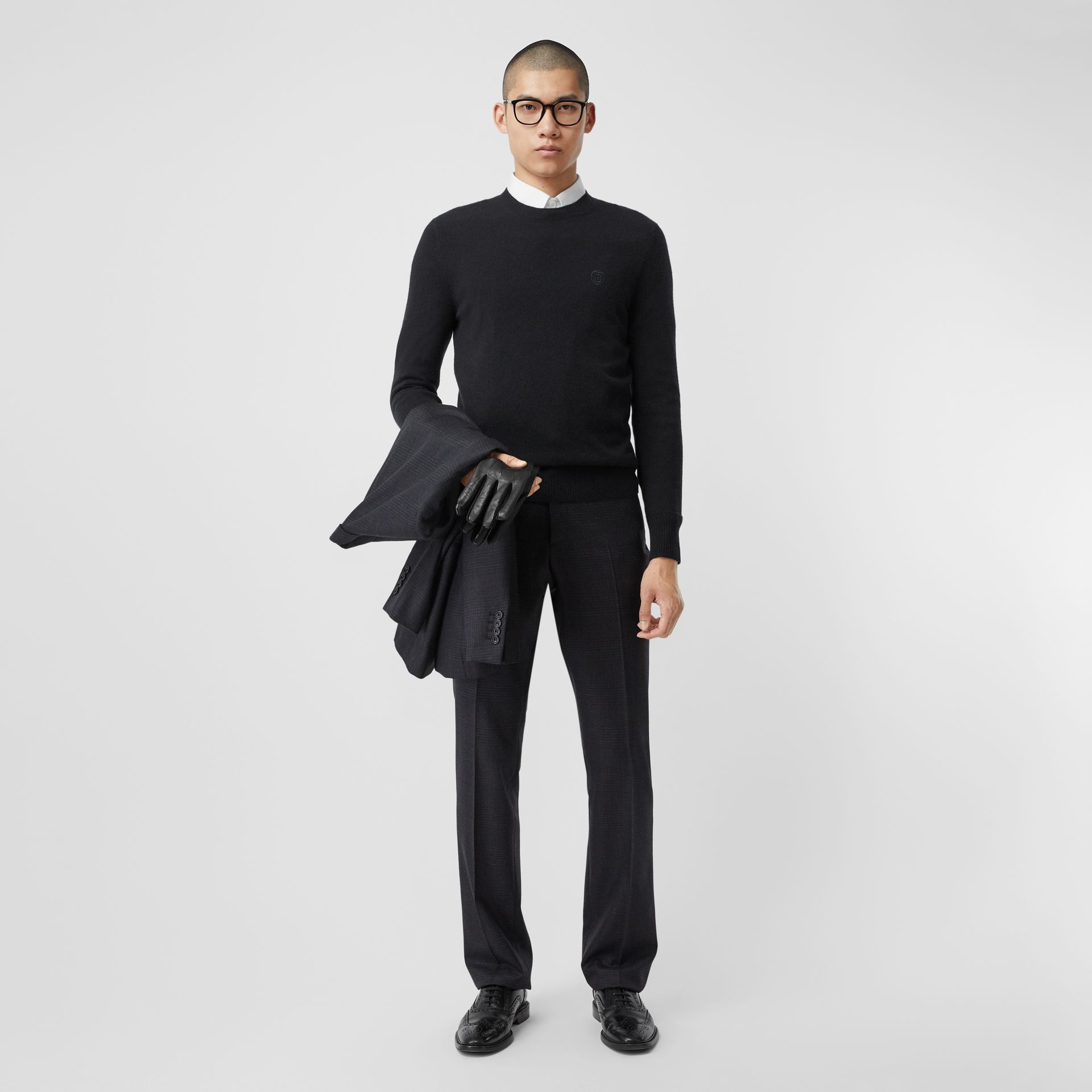 Monogram Motif Cashmere Sweater in Black - Men | Burberry Canada - gallery image 4