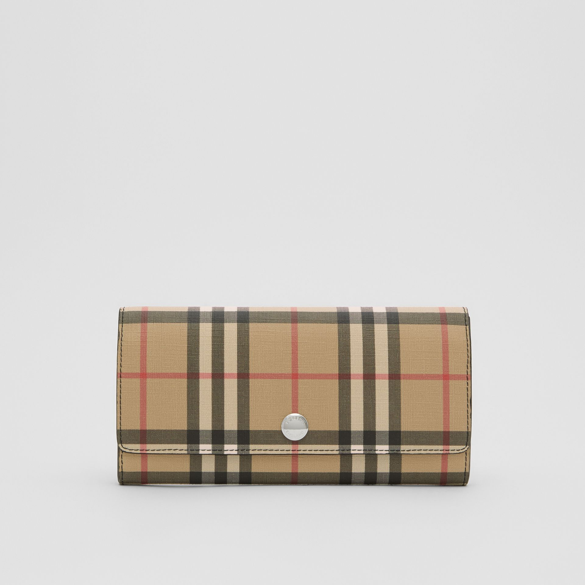 Vintage Check E-canvas Continental Wallet in Black - Women | Burberry - gallery image 0