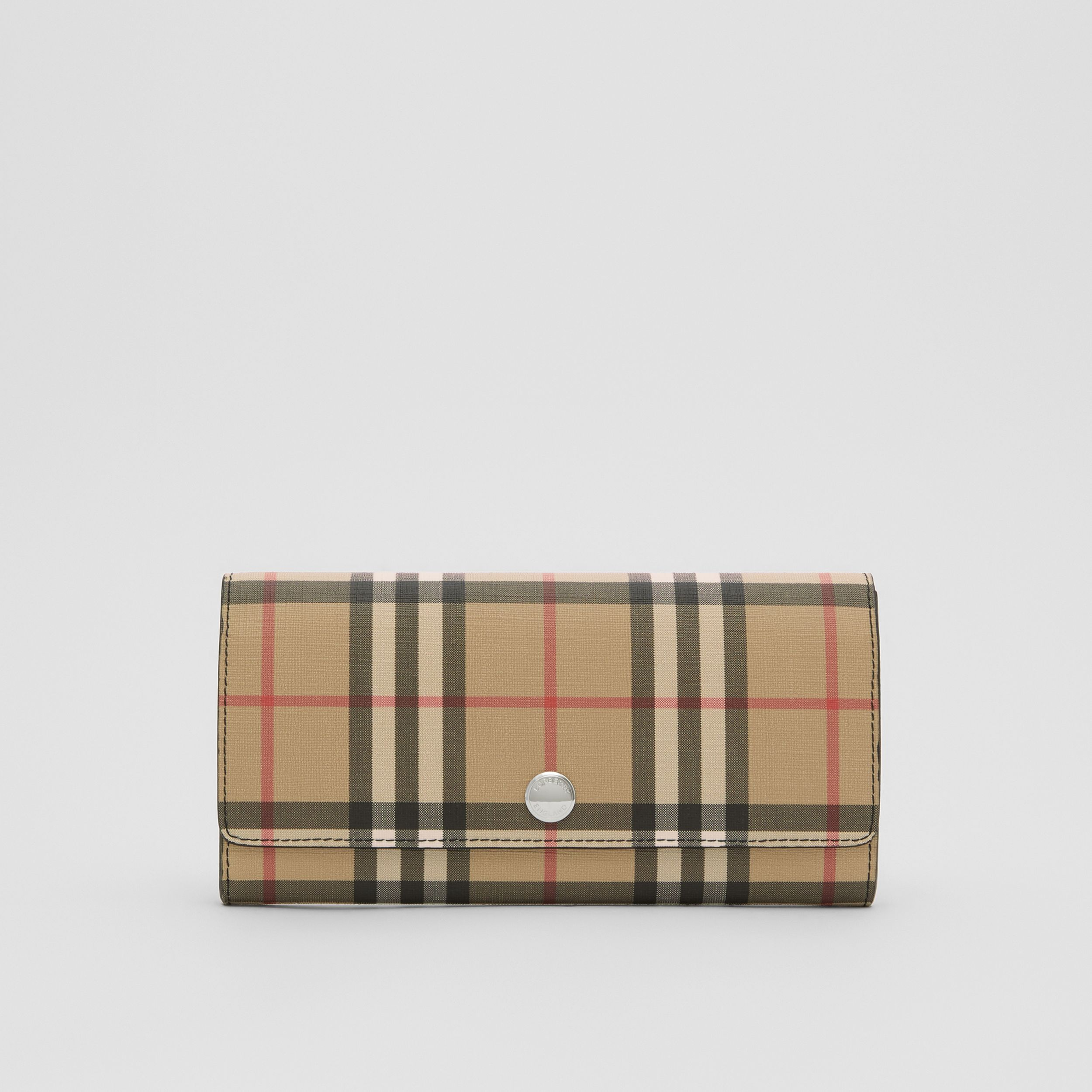 Vintage Check E-canvas Continental Wallet in Black - Women | Burberry - 1