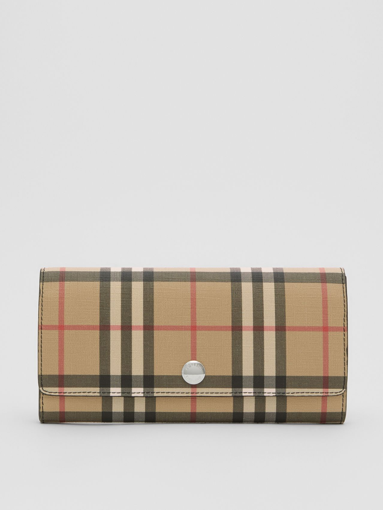 Vintage Check E-canvas Continental Wallet in Black
