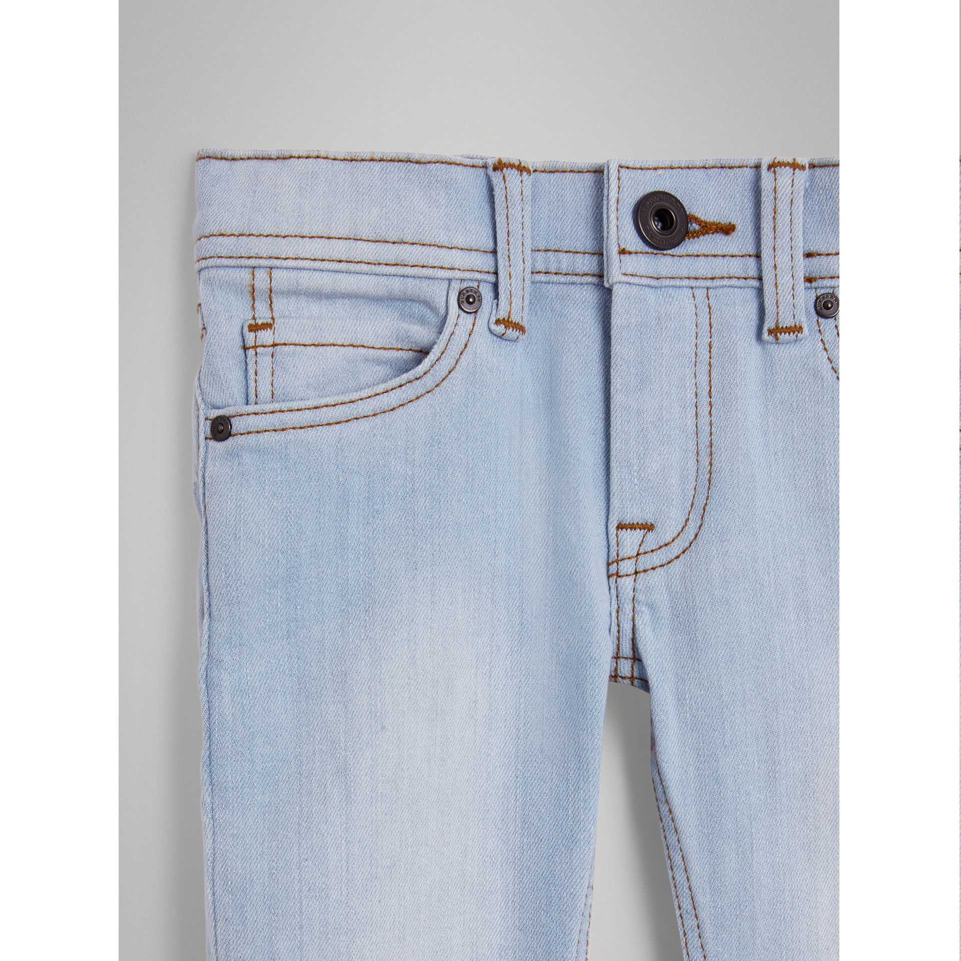 Skinny Fit Stretch Jeans in Light Blue - Girl | Burberry United Kingdom - gallery image 4