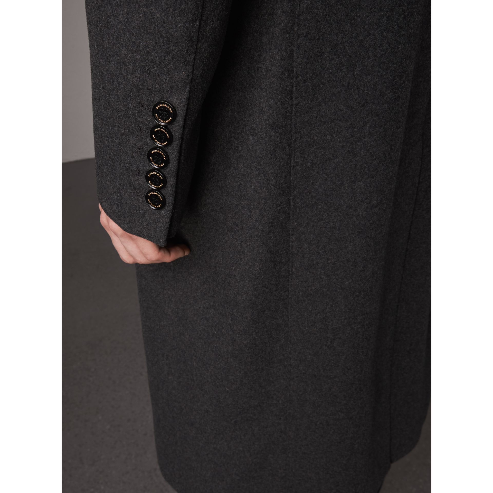 Melange Wool Blend Coat in Dark Grey - Men | Burberry - gallery image 5