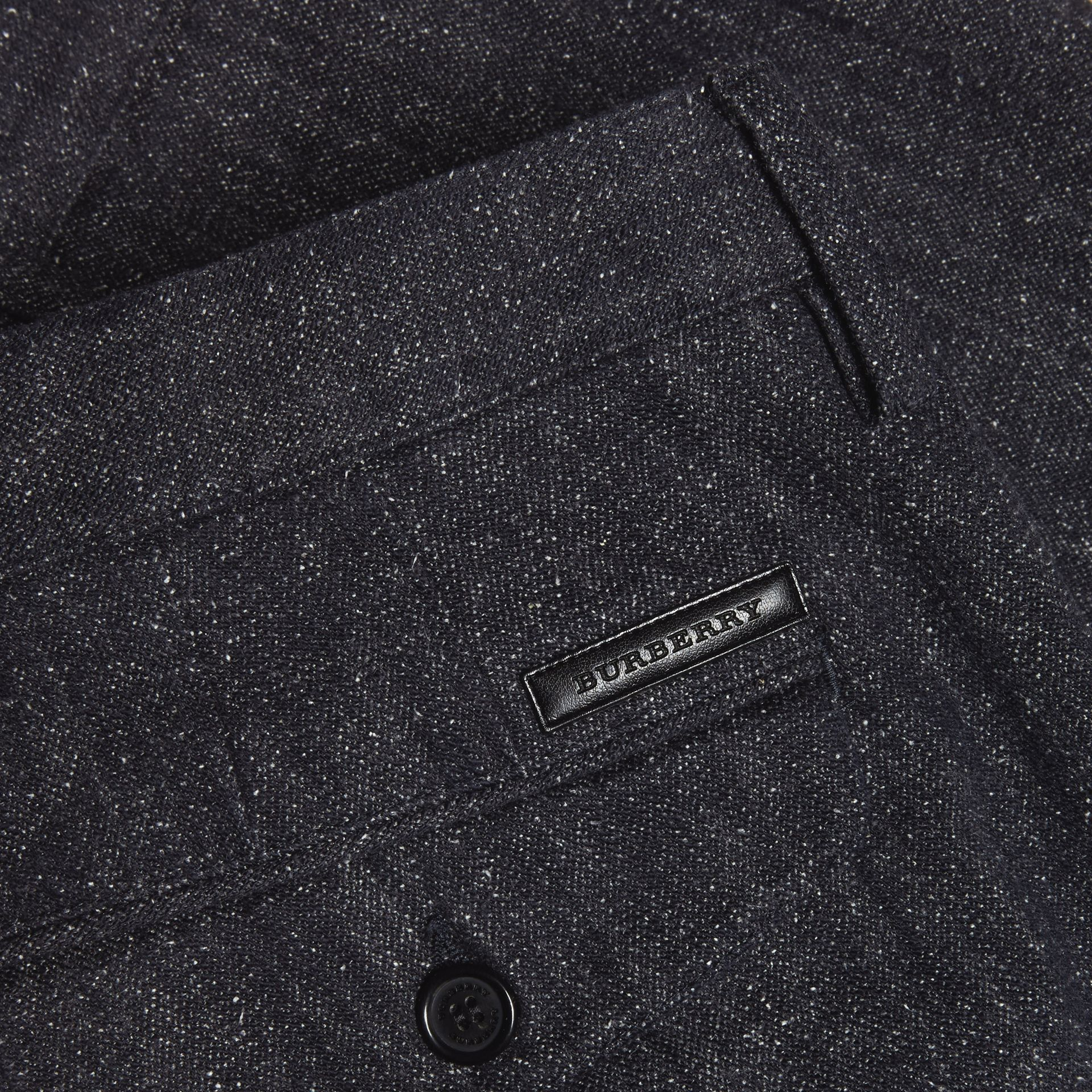 Charcoal blue Slim Fit Cotton Silk Donegal Tweed Chinos - gallery image 2