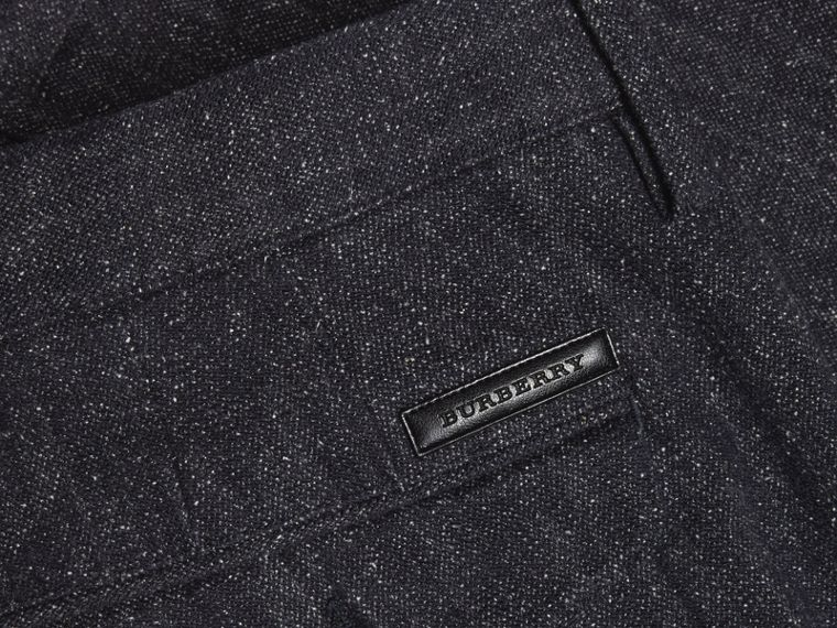 Charcoal blue Slim Fit Cotton Silk Donegal Tweed Chinos - cell image 1