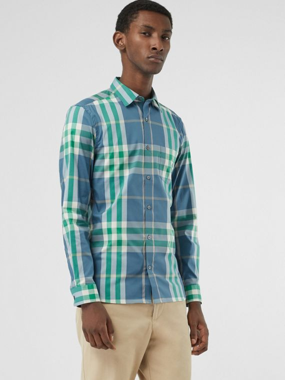 Check Stretch Cotton Shirt in Pewter Blue