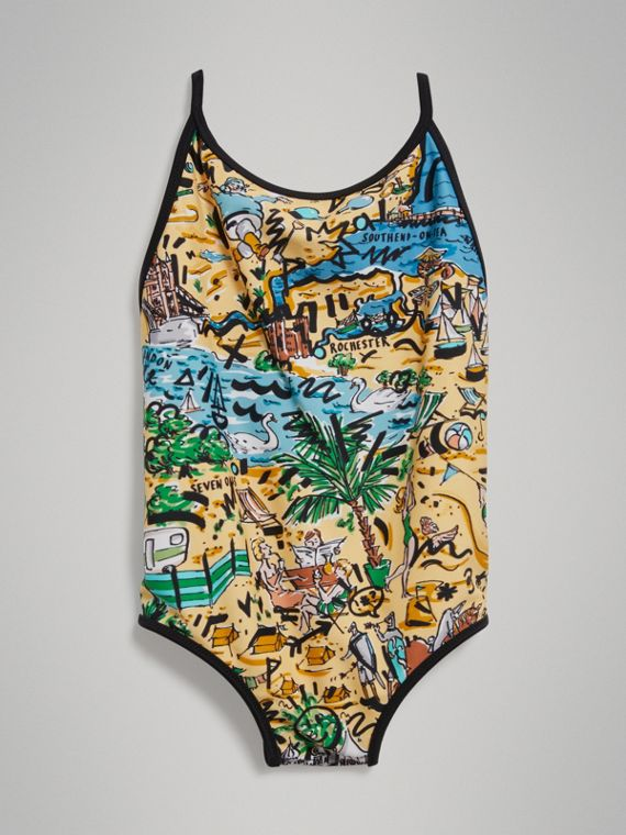 Seaside Print One-piece Swimsuit in Honey - Girl | Burberry - cell image 2