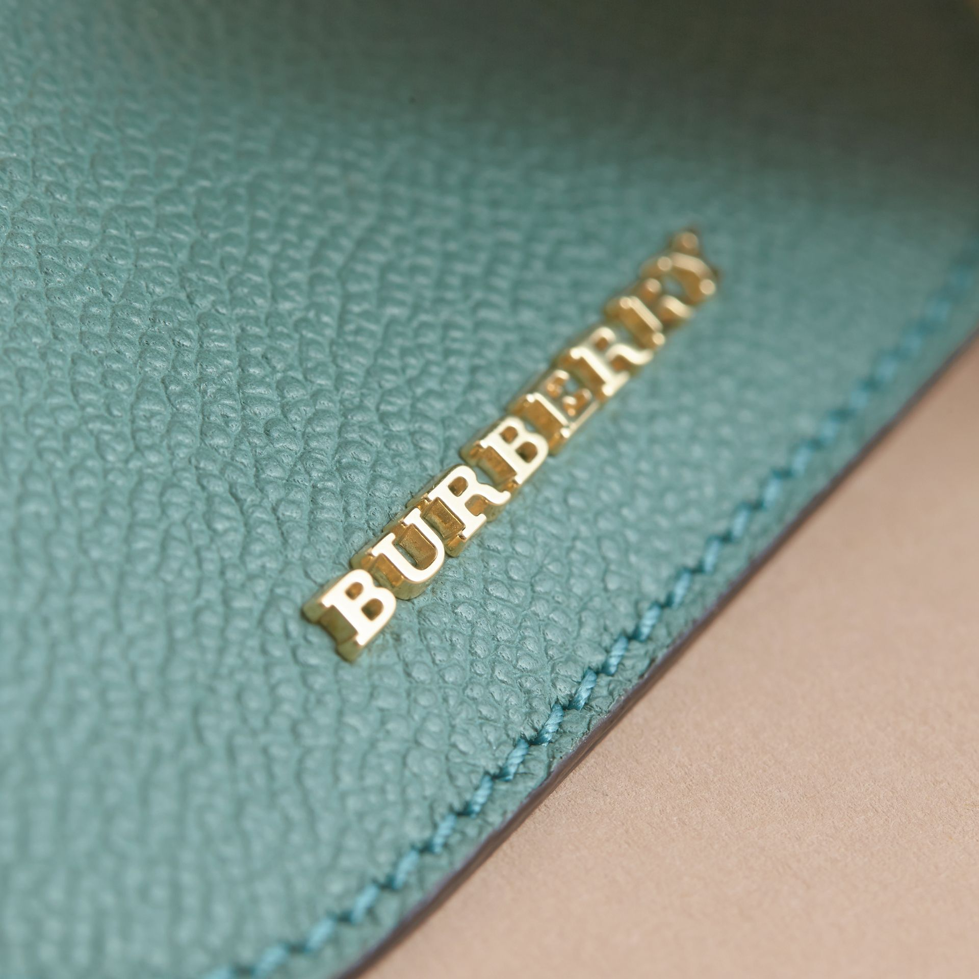 Leather Coin Case with Removable Card Compartment in Eucalyptus Green/multi - Women | Burberry - gallery image 3