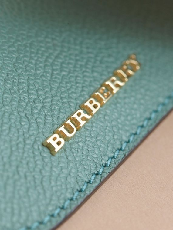 Leather Coin Case with Removable Card Compartment in Eucalyptus Green/multi - Women | Burberry Canada - cell image 2