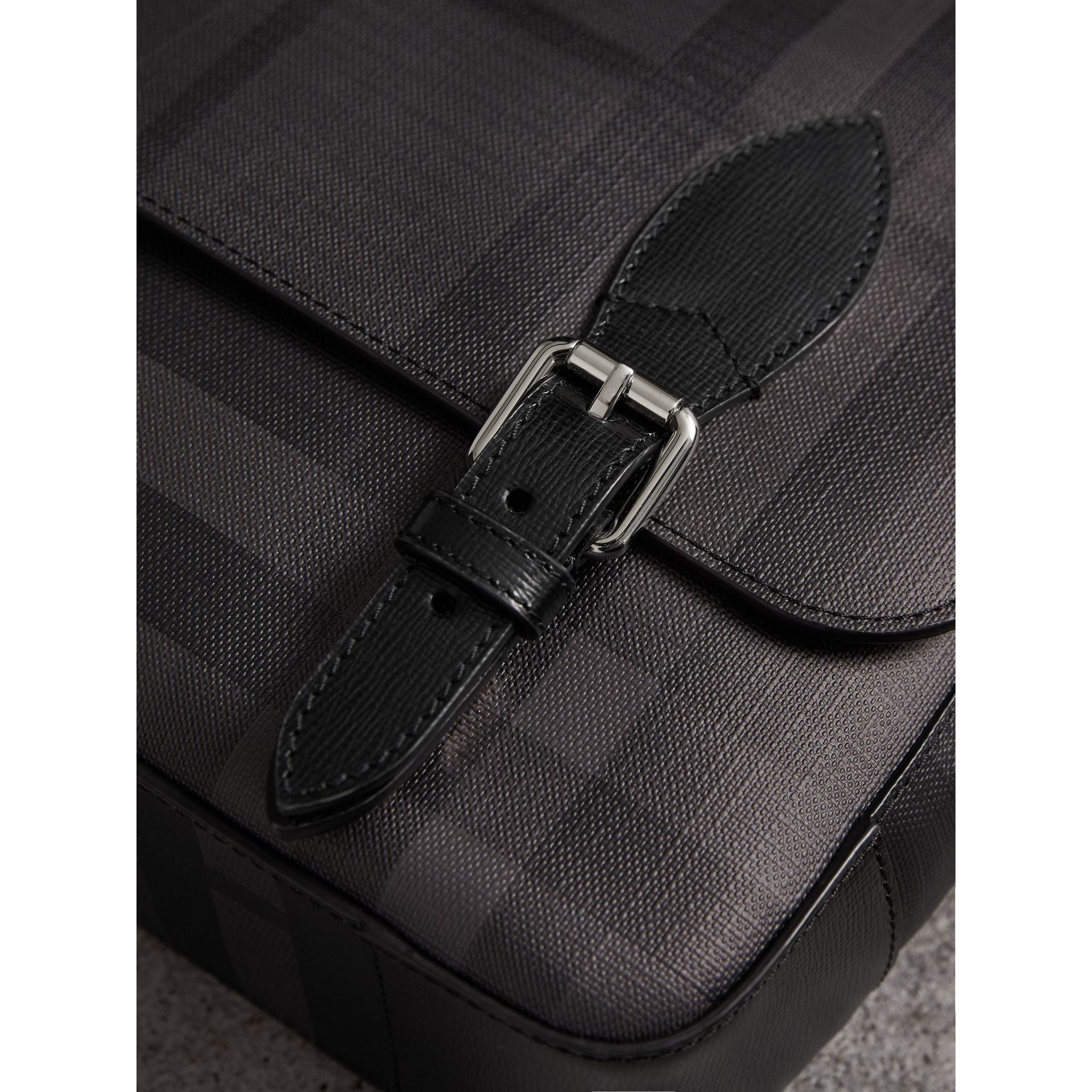 Medium Leather Trim London Check Messenger Bag in Charcoal/black - Men | Burberry United Kingdom - gallery image 1