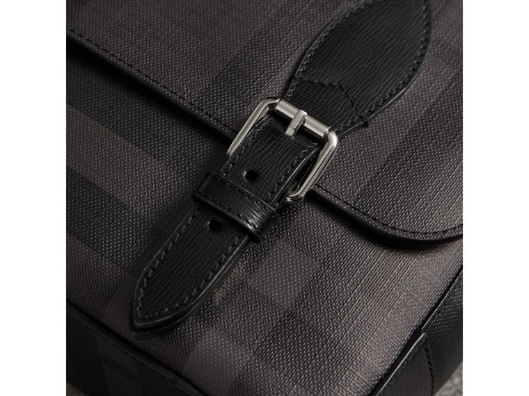 Medium Leather Trim London Check Messenger Bag in Charcoal/black - Men | Burberry United Kingdom - cell image 1