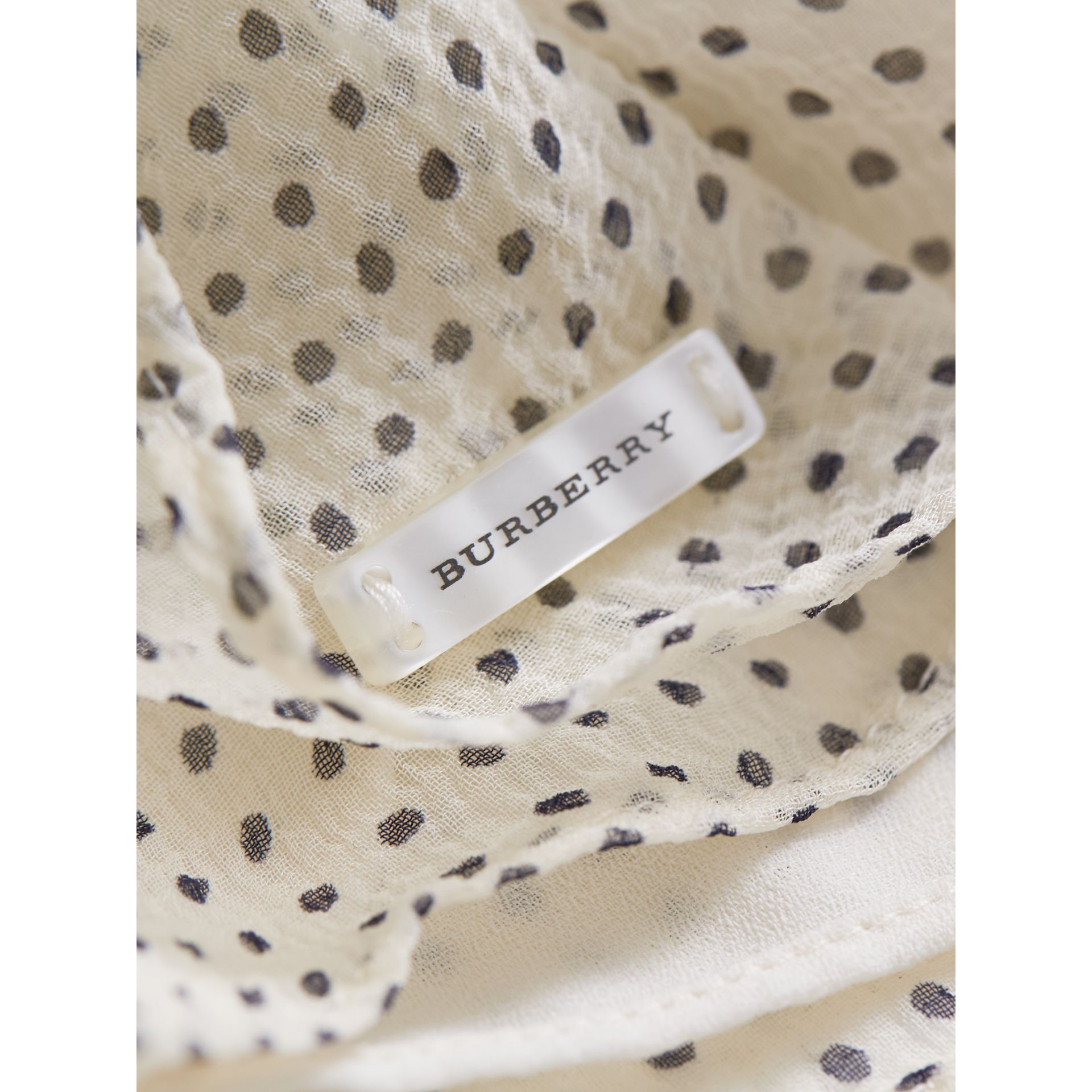 Bow Detail Polka-dot Silk Crepon Dress in Natural White/navy - Girl | Burberry Canada - gallery image 1