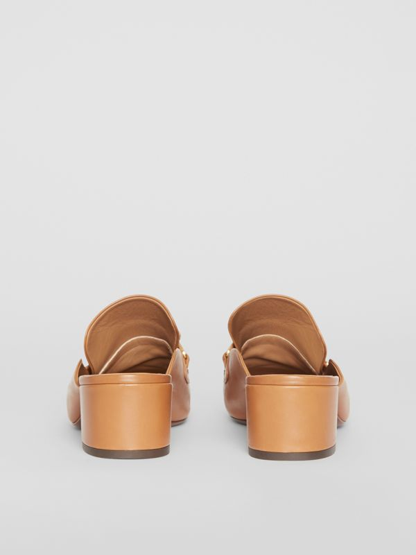 Link Detail Leather Block-heel Mules in Camel - Women | Burberry - cell image 3