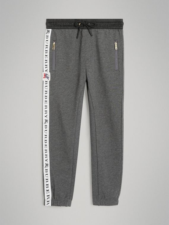 Logo Stripe Cotton Sweatpants in Charcoal Melange