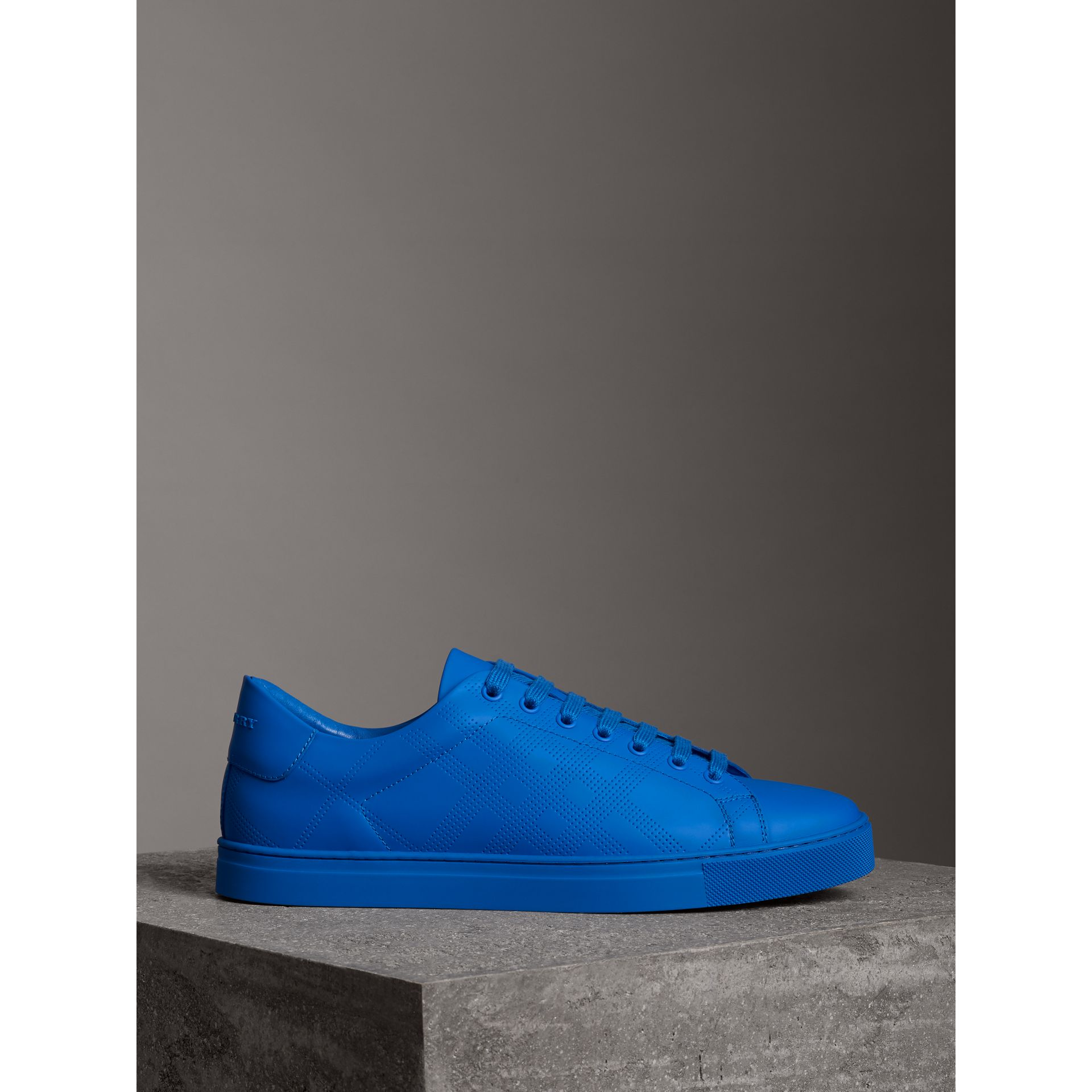 Perforated Check Leather Sneakers in Bright Sky Blue - Men | Burberry - gallery image 4
