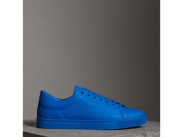 Perforated Check Leather Sneakers in Bright Sky Blue - Men | Burberry - cell image 4