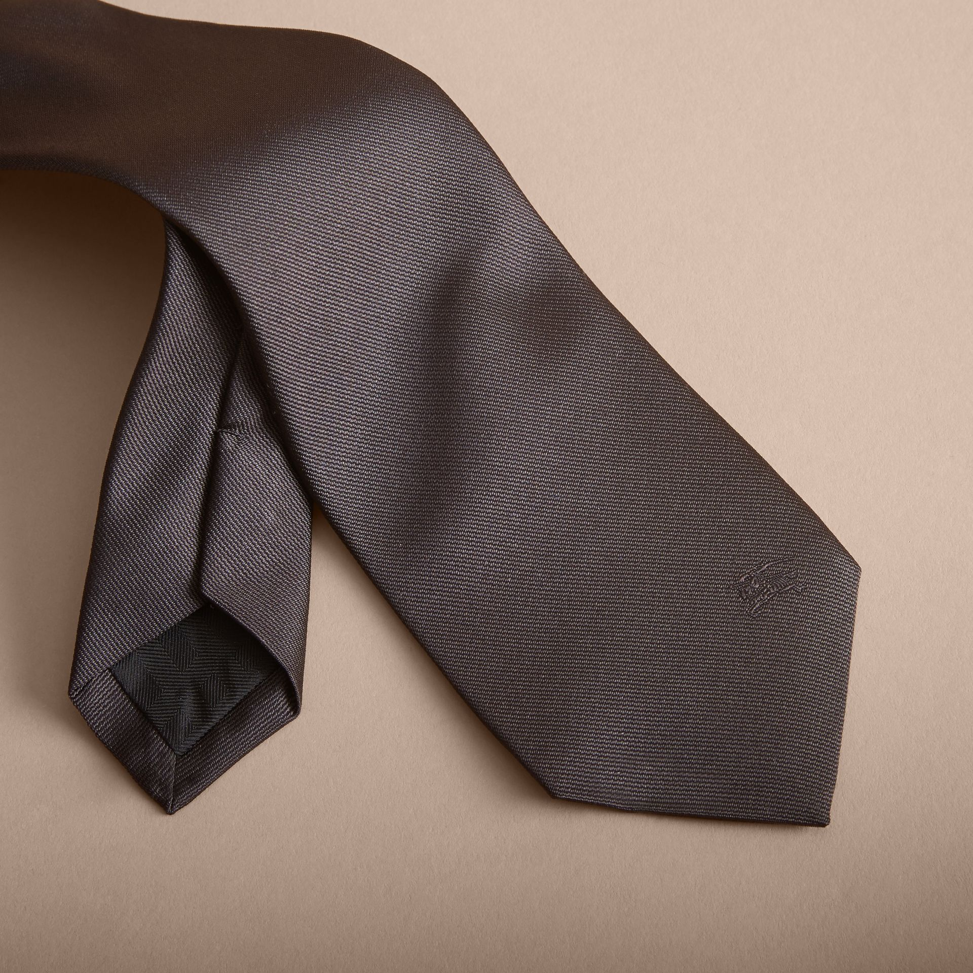 Modern Cut Silk Twill Tie in Charcoal - gallery image 2