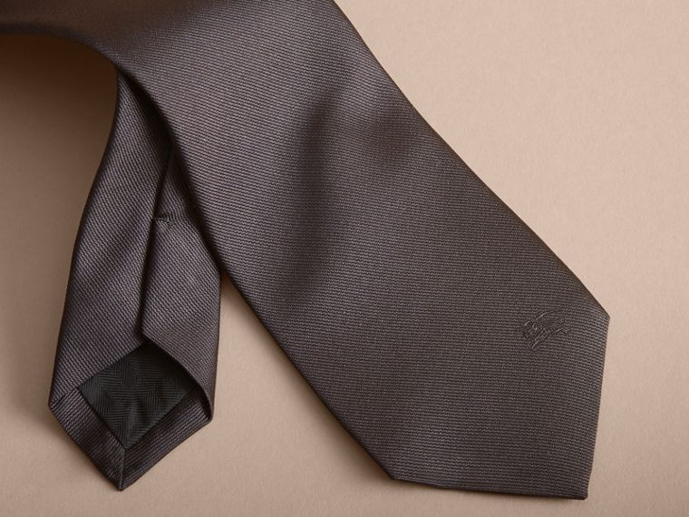 Modern Cut Silk Twill Tie in Charcoal - cell image 1