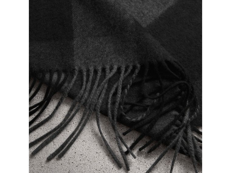 Oversize Check Cashmere Scarf in Charcoal | Burberry - cell image 1