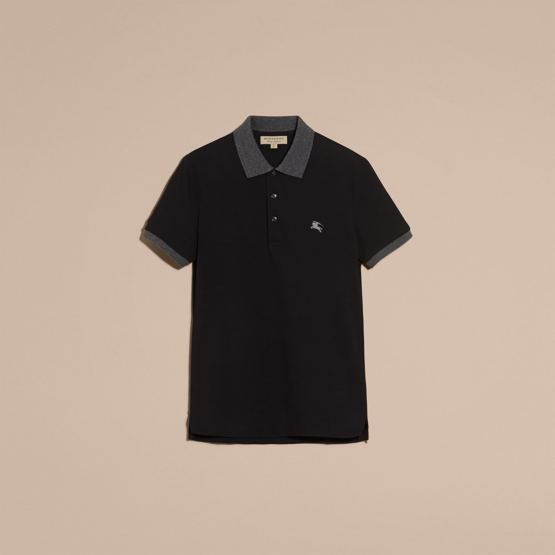 Black Contrast Colour Detail Cotton Piqué Polo Shirt Black - gallery image 4