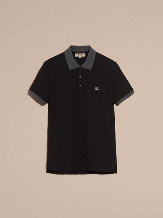 Black Contrast Colour Detail Cotton Piqué Polo Shirt Black - cell image 3