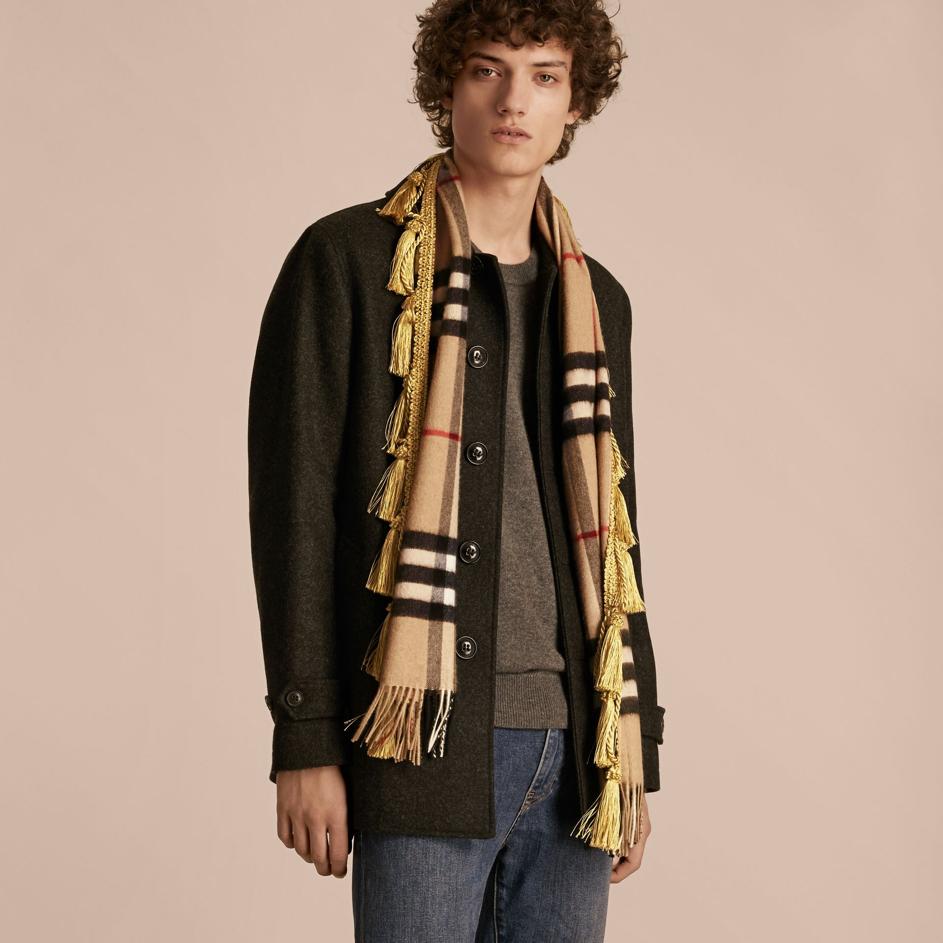 Camel The Classic Cashmere Scarf in Check with tassels - gallery image 4