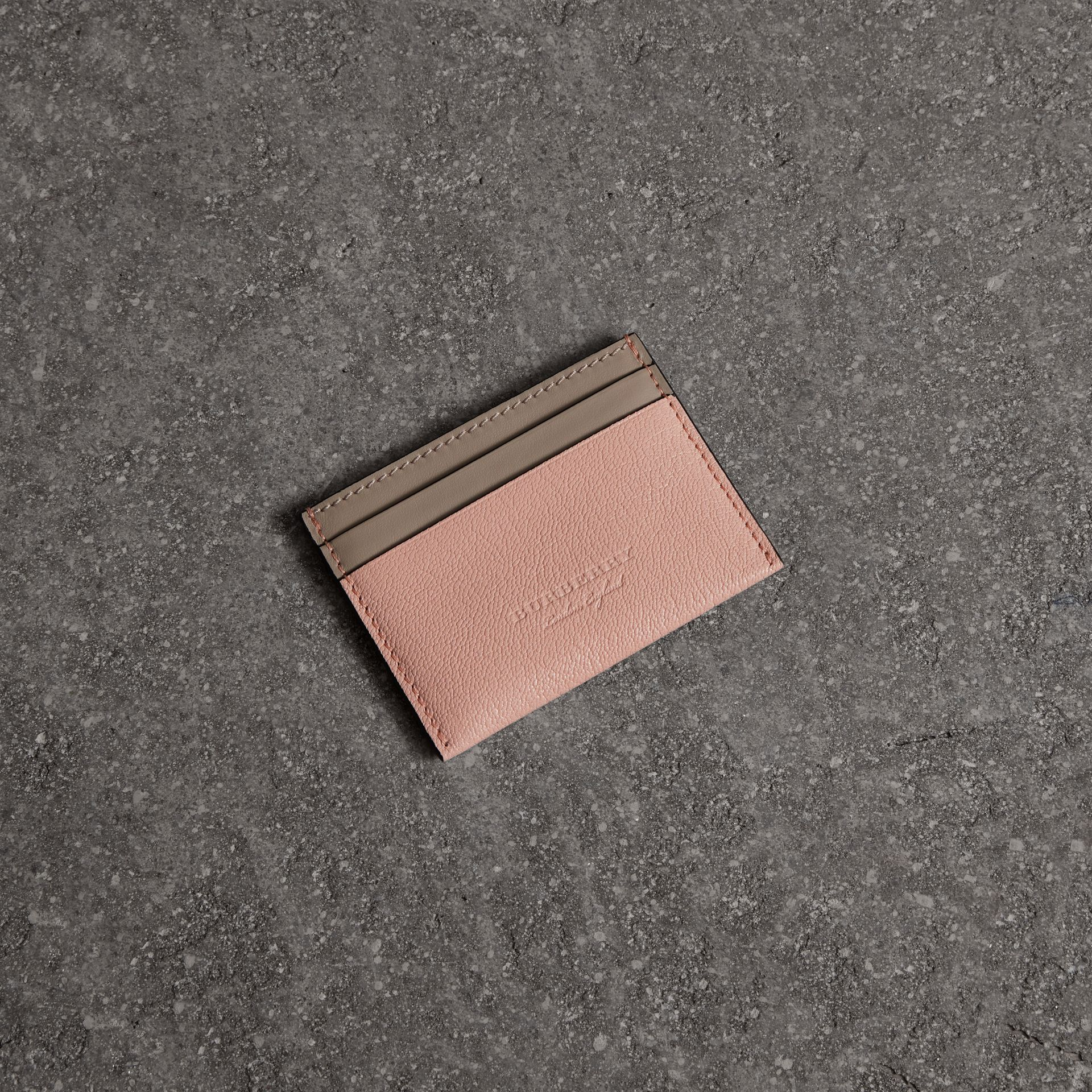 Two-tone Leather Card Case in Pale Ash Rose - Women | Burberry - gallery image 0