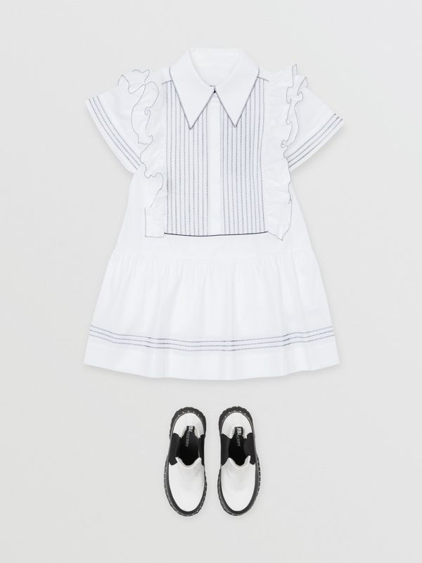 Ruffle Detail Stretch Cotton Poplin Dress in White | Burberry - cell image 2