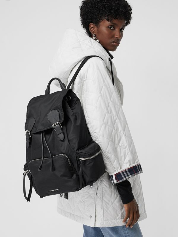 The Large Rucksack in Technical Nylon and Leather in Black - Women | Burberry Singapore - cell image 3