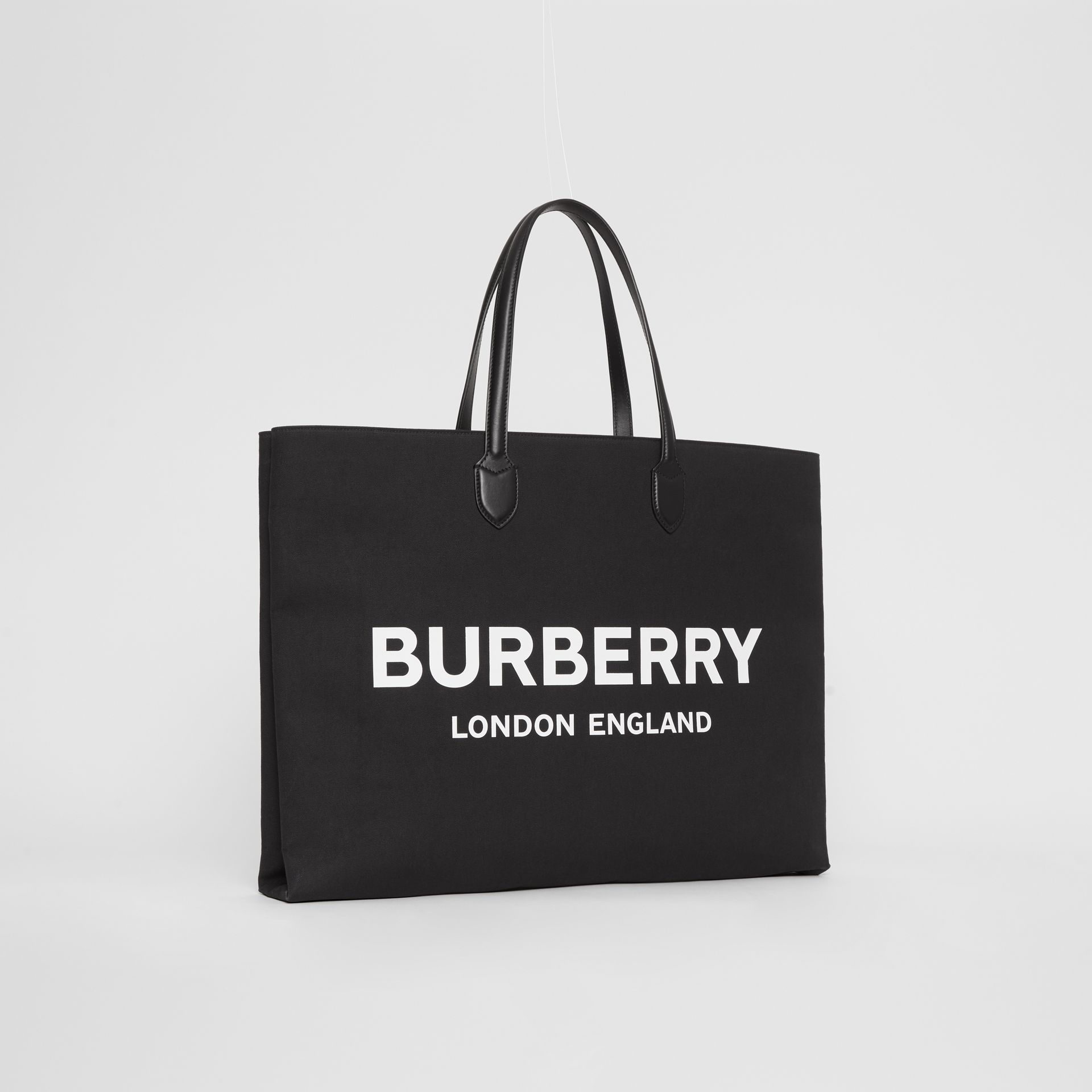 Logo Detail Cotton Blend Tote in Black | Burberry - gallery image 4