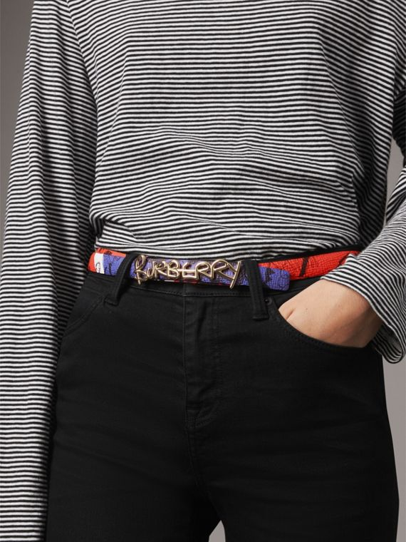 Doodle Detail Reversible Leather Belt in Red/blue - Women | Burberry - cell image 2