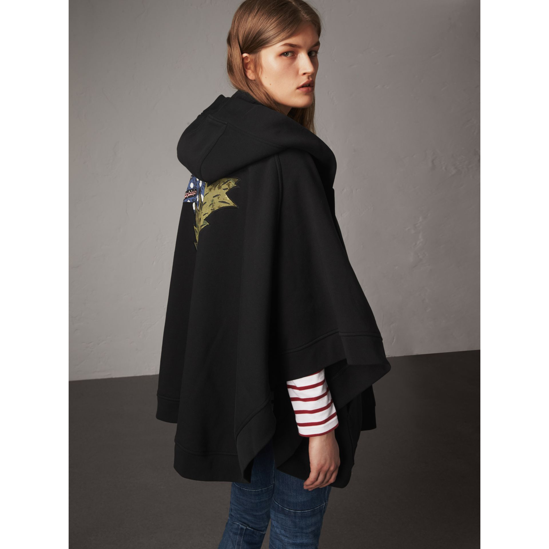Beasts Motif Hooded Sweatshirt Poncho in Black - Women | Burberry - gallery image 0