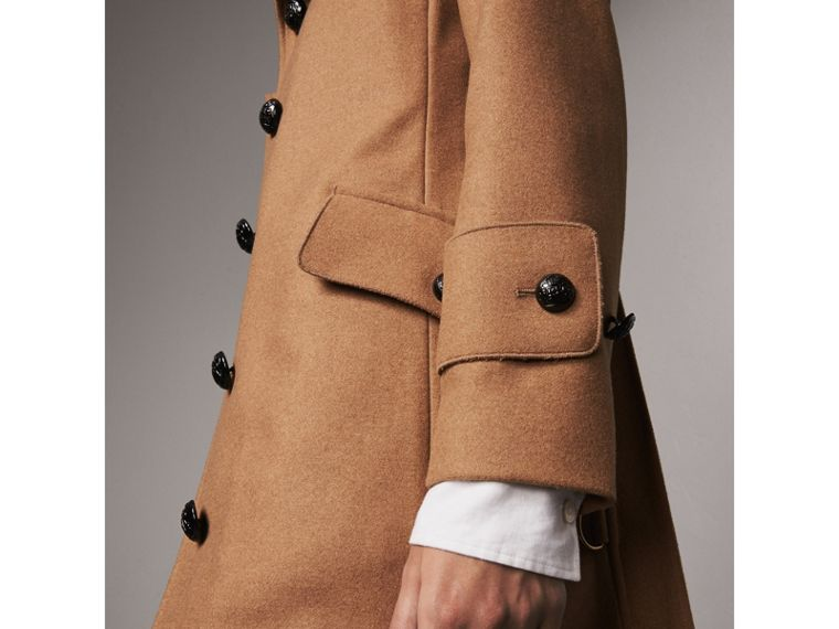 Hooded Wool Blend Coat with Detachable Fur Trim in Camel Melange - Women | Burberry - cell image 1