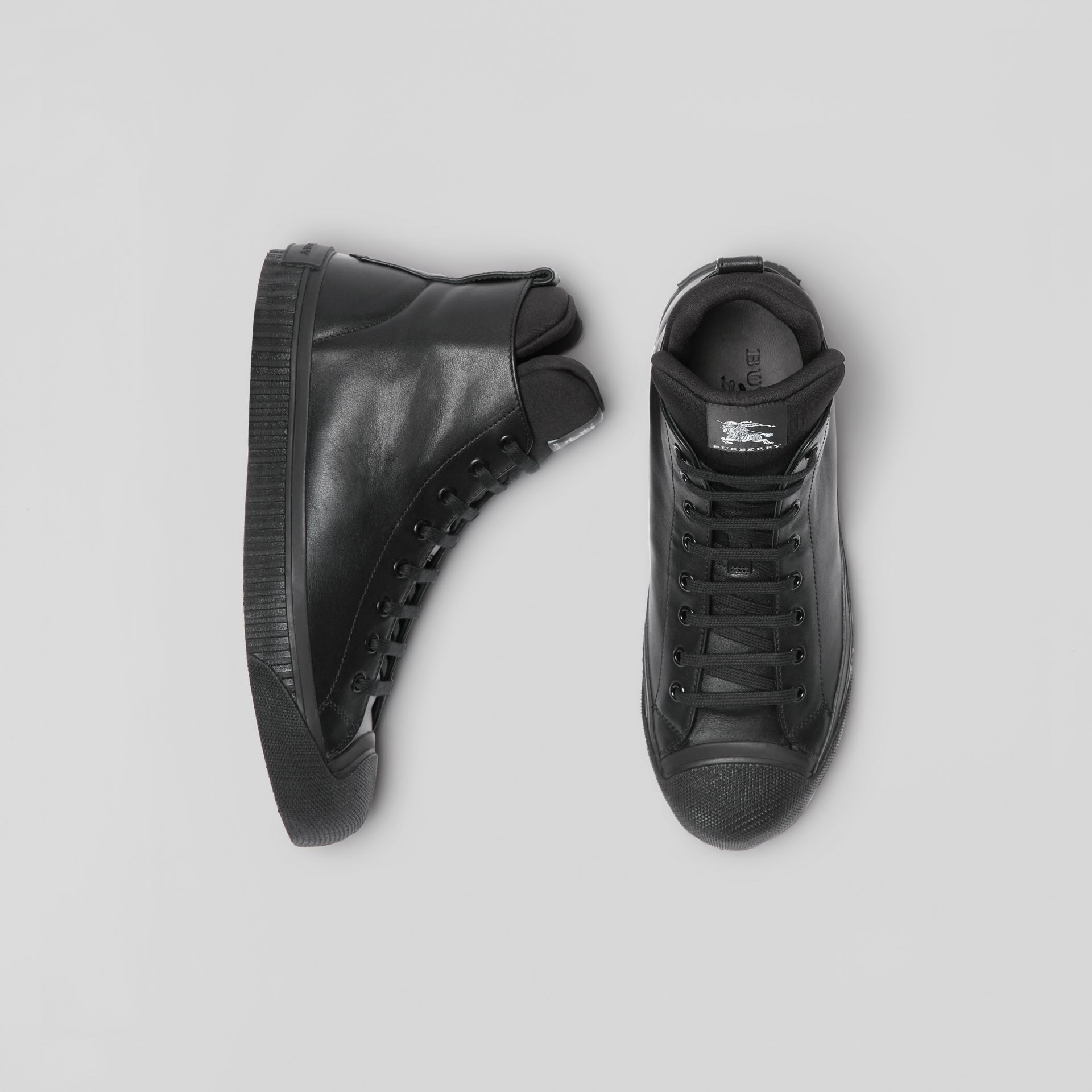 Leather and Neoprene High-top Sneakers in Black - Men | Burberry - gallery image 0