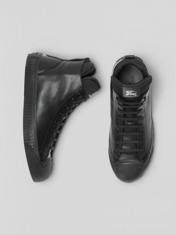 Leather and Neoprene High-top Sneakers in Black